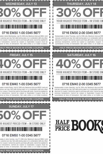 half price books printable coupons july 2016