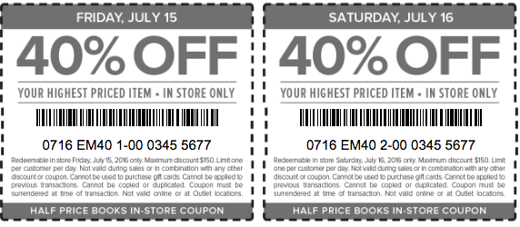 half price books printable coupons july 2016