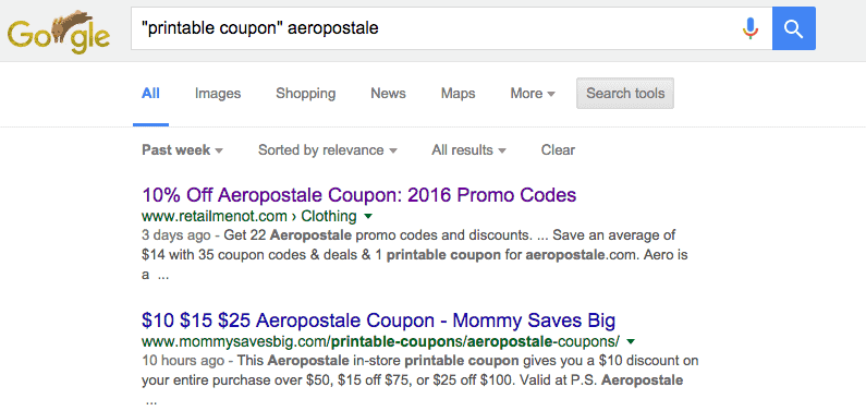 how to find aeropostale printable coupon in google search