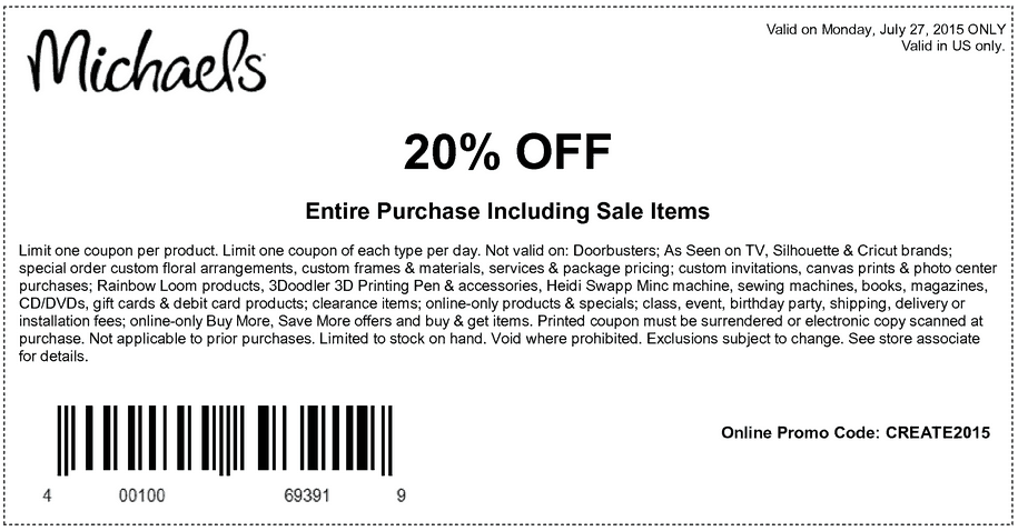michaels printable coupons july 2015 20 percent off entire purchase discount
