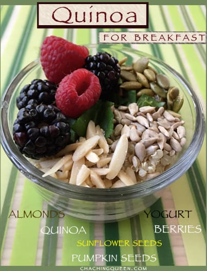 Quinoa Recipes: Quinoa Breakfast Bowl of Protein with Yogurt Seeds Berries and Nuts