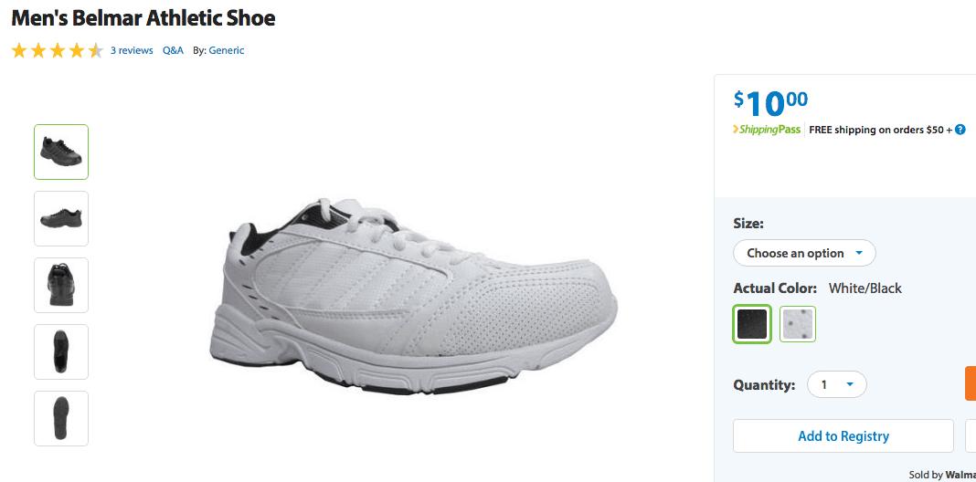 Walmart Discount Mens Sneakers 10 dollars each at Walmart