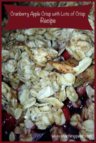 cranberry apple crisp recipe with lots of crisp topping
