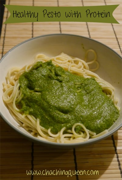 healthy pesto recipe with protein spinach and almonds