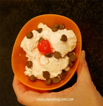 Homemade ice cream no ice cream maker bowl with toppings