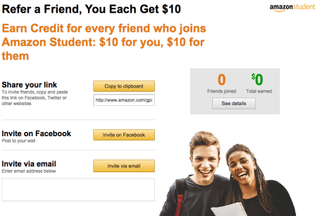how to make money on Amazon refer friends Amazon student