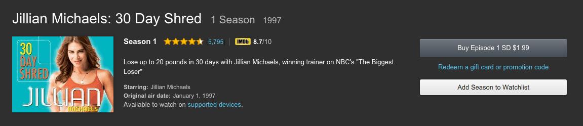 jillian michaels 30 day shred season 1 level 1 2 3 amazon video online cheap