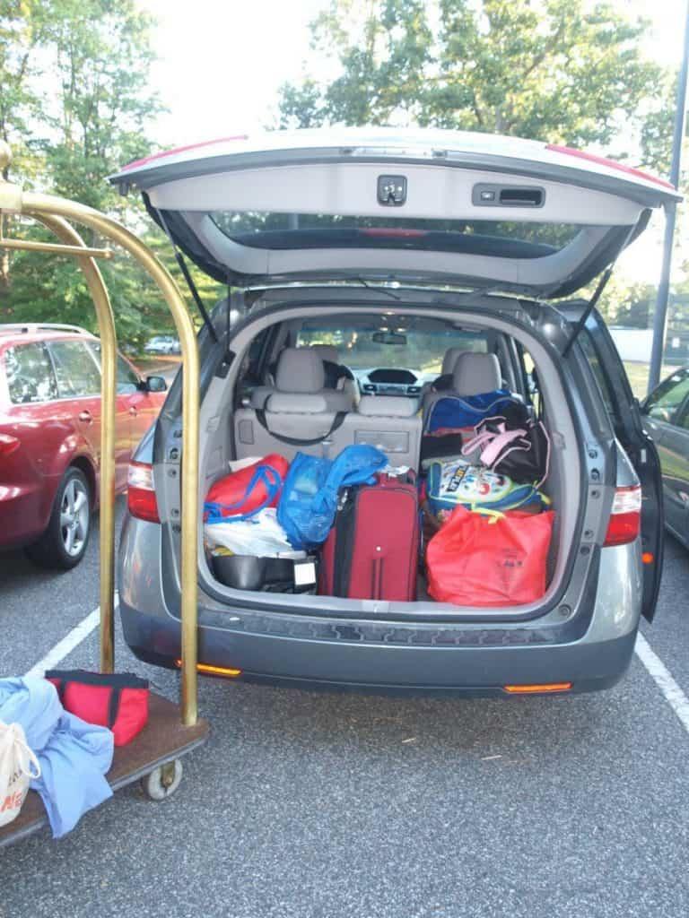 road trip full car - honda odyssey for family USA road trip