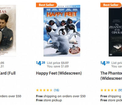 $3.74 DVDs and DVD Packages at Walmart