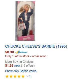 CHUCKE CHEESE'S BARBIE (1995) doll amazon deal discount