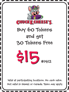 Chuck E. Cheese on International Drive in Orlando is one of our favorite places to go, we are able to sit back and relax. An easy way to save money when going to Chuck E. Cheese is go to their website and print out the calendars, they offer 10 free tokens per child.