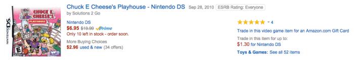 Chuck E Cheese's Playhouse - Nintendo DS amazon discount