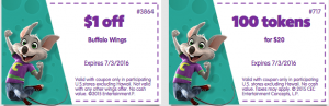 June 2016 and July 2016 printable coupons chuck e cheese