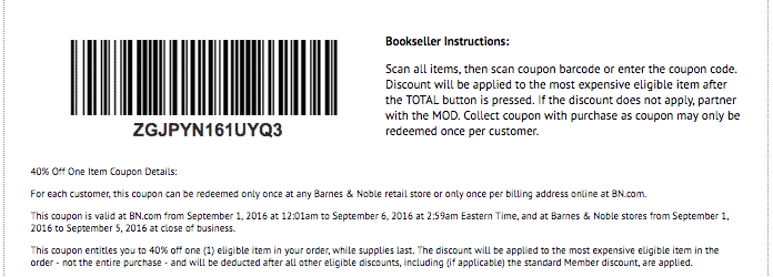 barnes and noble printable coupon code september 2016 rare 40 percent off coupon