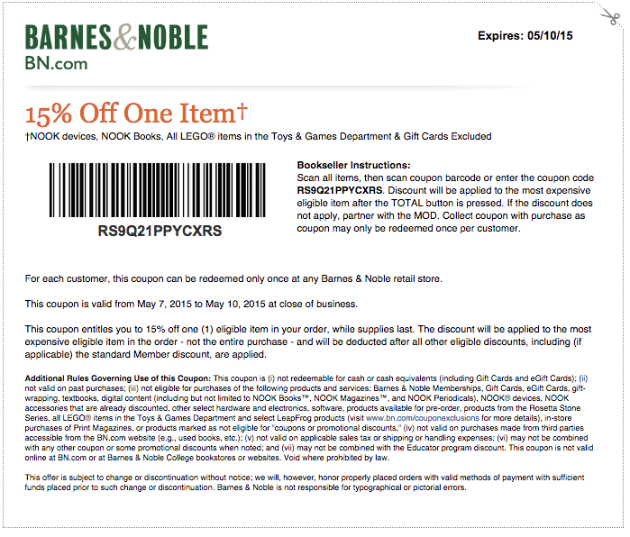 Barnes and noble deals coupons