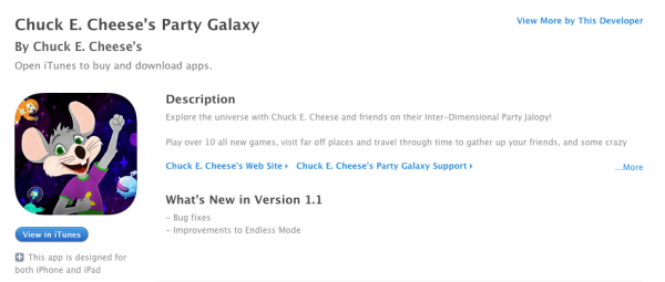 chuck e cheese app itunes Chuck E. Cheese's Party Galaxy iphone
