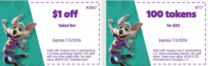 chuck e cheese printable coupons June 2016 and July 2016 tokens food