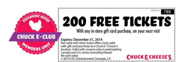 photograph relating to Chuck E Cheese Coupon Printable named Free of charge tokens coupon chuck e cheese : Ninja cafe nyc discount coupons