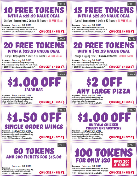 Top Chuck E Cheese's coupon: 5% Off. Find 8 Chuck E Cheese's coupons and promo codes for December, at uninewz.ga