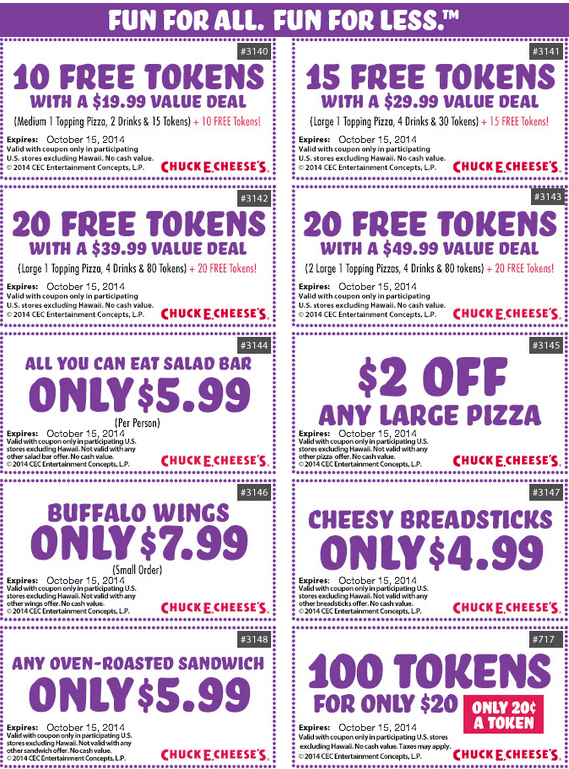 chuck e cheese token coupons 2017