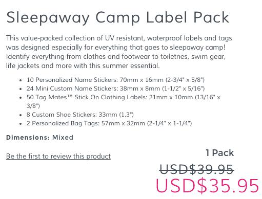 mabels labels Sleepaway Camp Label Pack