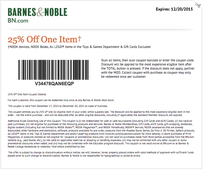 Barnes And Noble Coupon 2018 25 Off : Eating Out Deals In