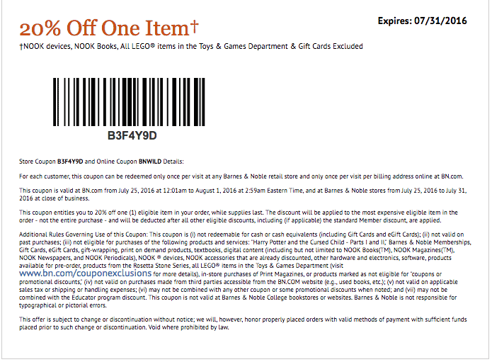Barnes and noble coupons july 2019