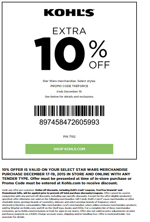 khols printable coupons kohls coupons september 2016 codes printable 22666 | december 2015 Kohls printable coupon star wars