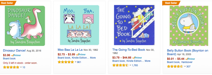 Discounted Sandra Boynton Books on Amazon