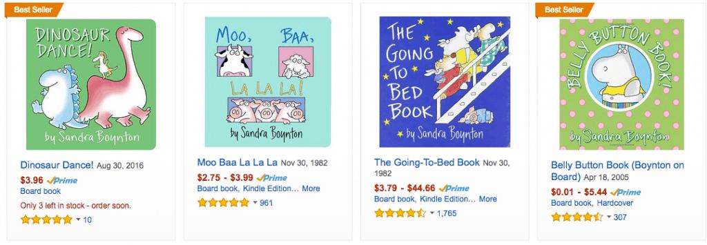 Discounted Sandra Boynton Books on Amazon