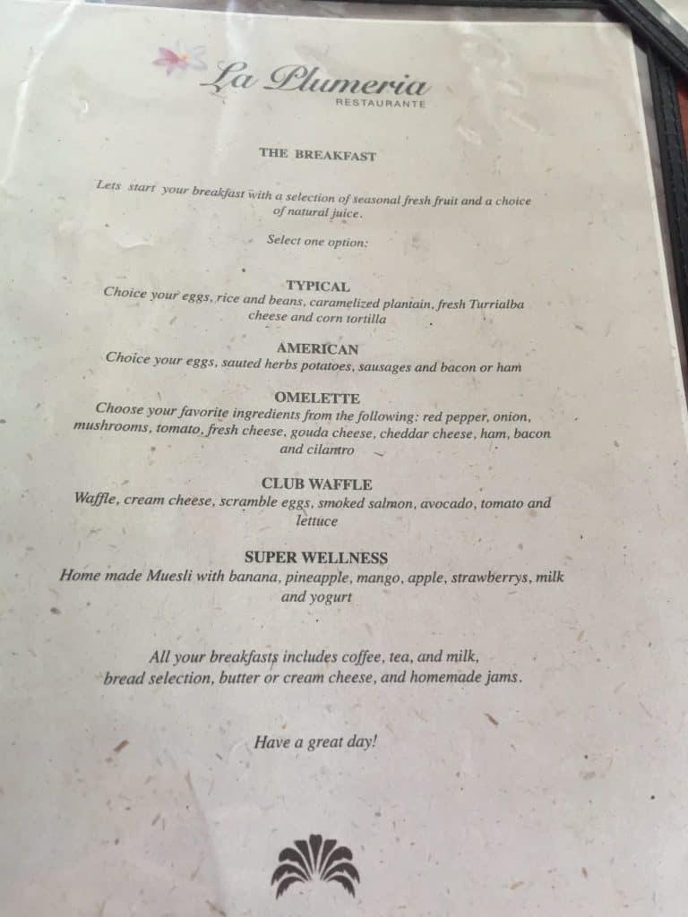 Jardin del Eden Boutique Hotel Review breakfast menu