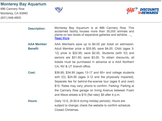 Monterey Bay Aquarium coupons and discount tickets AAA prices