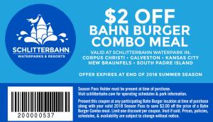 burger coupon 2018 Schlitterbahn Waterpark Season Pass Holder