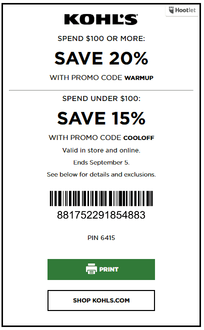 Kohls coupon code august 2018