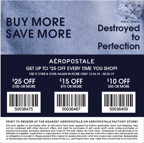 Aeropostale printable coupons january 2019 february 2019