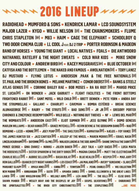 Austin City Limits Festival 2016 Lineup list of bands
