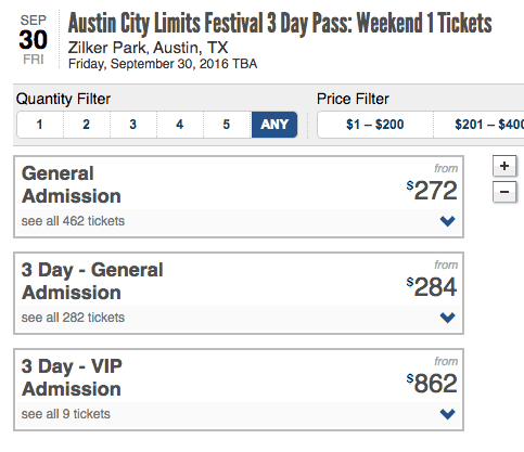 Austin City Limits Festival 3 Day Pass Weekend 1 Tickets prices