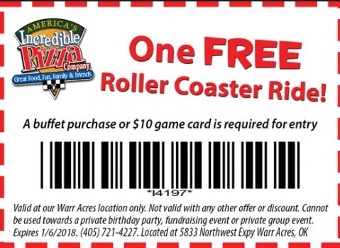 Printable Coupons for Incredible Pizza 2017 OK rollercoaster