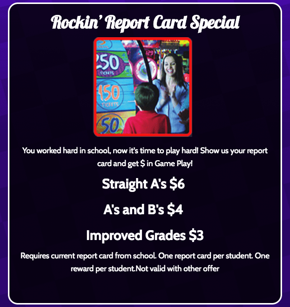 incredible pizza coupon for good grades Rockin Report Card