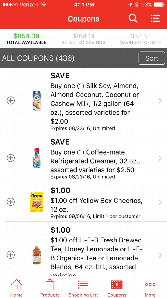 save money grocery shopping with HEB app