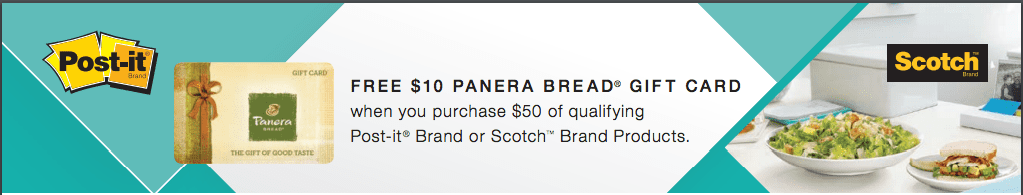 Free 10 dollar Panera Gift Card with $50 Purchase of Post-it® Brand or Scotch™ Brand Products