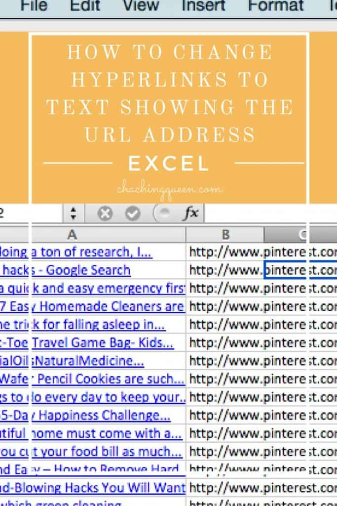 How to Change Hyperlinks to Text Showing the URL Address in Excel - extracting URLs