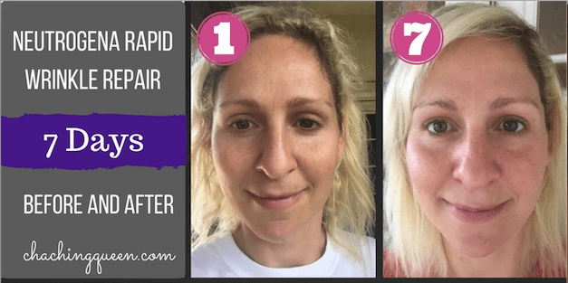 Neutrogena Rapid Wrinkle Repair with Anti-Aging Retinol - 7 Day Photo Diary day 1 and day 7