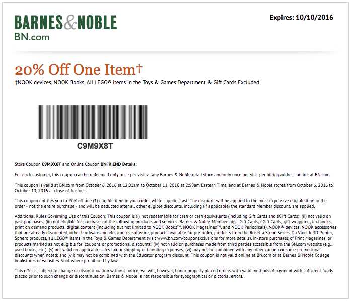 Coupon code for barnes and noble membership