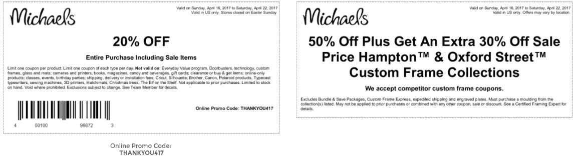 michaels printable coupon april 2017 20 percent off entire purchase - Michaels Frames Coupons
