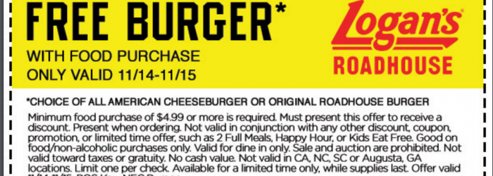free burger printable coupon logans roadhouse november 2016