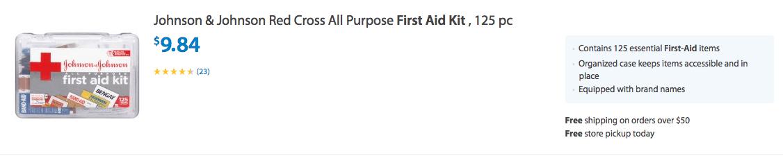 Johnson & Johnson Red Cross All Purpose First Aid Kit , 125 pc