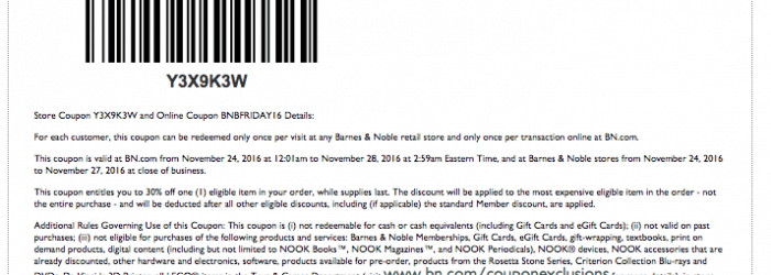 barnes and noble printable coupon november 2016 30 percent off