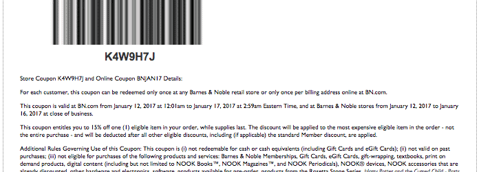 barnes and noble printable coupon code january 2017