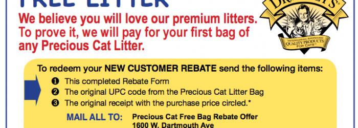 Get Free Cat Litter 40lb Bag – Free after Rebate